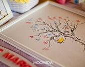Fingerprint Tree Wedding Guest Book Alternative, Original Hand-drawn Extra Small Cherry Blossom Design (ink pads sold separately)