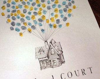 Thumbprint Balloons, Wedding Guest Book Alternative, Victorian House, Up House, like Fingerprint Guest Book, Unique Wedding Guest book