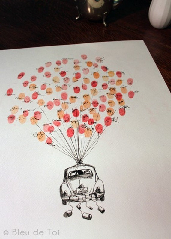 MEDIUM Guest book fingerprint BALLOON with love bug (drawing with 3 ink pads)