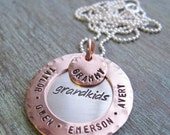 Personalized Grandmother Necklace, Family Jewelry, Hand Stamped, Grandma, Nana, Mother