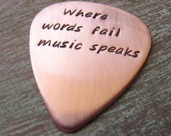 Where words fail music speaks, Personalized Copper Guitar Pick, Leather Keychain, Musician Gift, Guitar Player