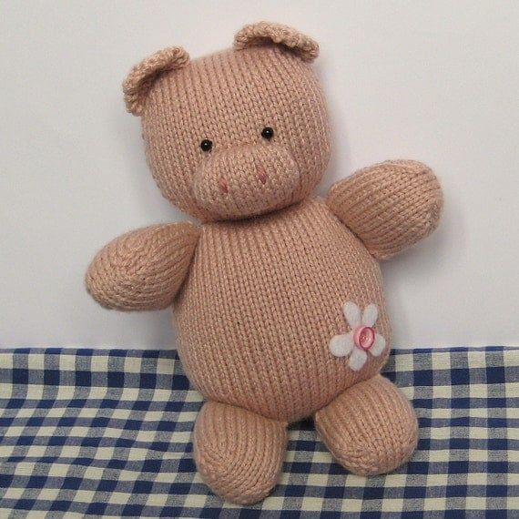 Knitting Patterns For Toys On Etsy : Penny Pig toy knitting pattern by fluffandfuzz on Etsy