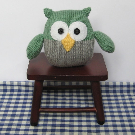 Knitting Patterns For Toys On Etsy : Barney Owl toy knitting pattern easy knit instant by fluffandfuzz