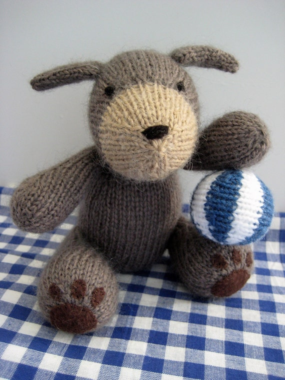 Mortimer Puppy Dog and beach ball toy Knitting by fluffandfuzz