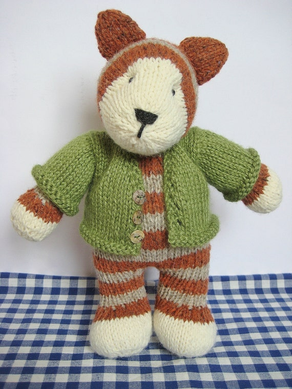 Knitting Patterns For Toys On Etsy : Tabby cat toy knitting pattern by fluffandfuzz on Etsy