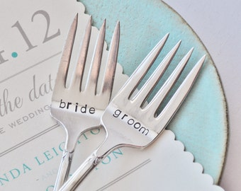 Bride & Groom - Vintage Wedding Cake Forks (Matching Set)