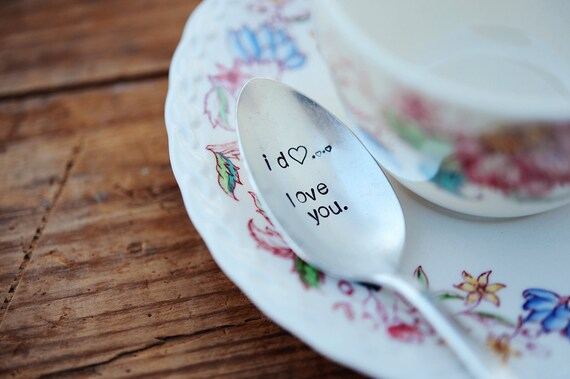 I Do, Love You - Handstamped Vintage Spoon with hearts by jessicaNdesigns