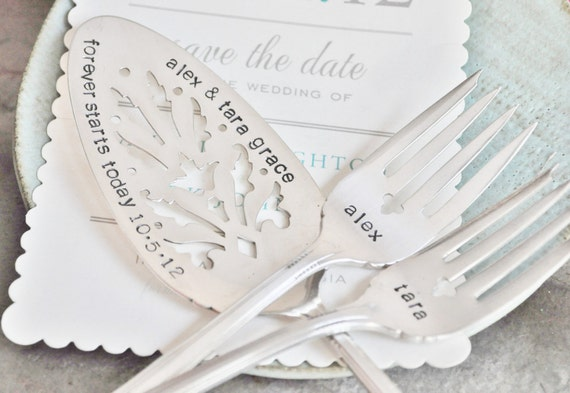 PERSONALIZE your own Hand Stamped Vintage Wedding Cake Fork & Server Set - Including the Names of Bride and Groom and their wedding date