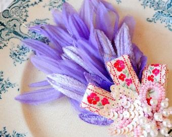 Vintage handmade brooch/Lavender millinery flowers/Pink embroidery trim/Sequins pearls