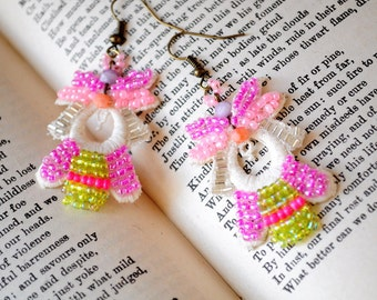 Lemon grass.. handmade Vintage lace earrings with pink beads,and more