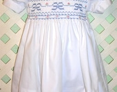 Hand Smocked Dress with Blue Bows Size 12 months to 5yrs