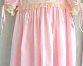 Girls Heirloom Dress Pink Swiss Batiste and Ecru French Laces