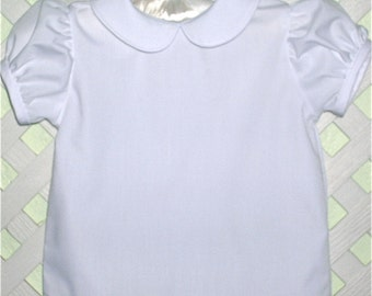 Girls Peter Pan Collar Short Sleeve Blouse 6 months to 6 years