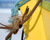 boat on beach photography, rusty rope, ship, yacht, large wall print, nautical, seaside, yellow, blue, turquoise, cyan, rusty, bright, sunny