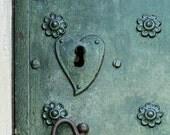 metal doors heart lock print, 8x8 art print, teal heart decor, green keyhole art, architecture photography, heart art print industrial decor