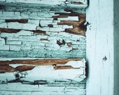 mint wooden wall, abstract photography, 8x8 architecture photo, peeling paint, reclaimed wood art, cyan, turquoise, rustic barn doors decor