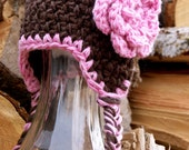 Chunky Bunny - Thick Chocolate Pink Crochet Earflap Hat with Big Flower for Baby Girl