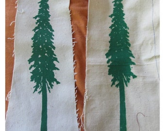 Tree Silhouette Patch, Green on White Canvas Screenprint - douglas fir forest punk patch ecology nature earth first free cascadia doug pine