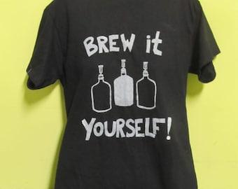 Brew It Yourself - Small. Black Screenprint T Shirt - homebrew print tshirt, unisex, women, men