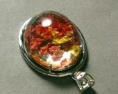 red PHANTOM QUARTZ 27X44mm high quality oval high dome pendant