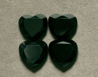 BLACK ONYX cabochon faceted heart FOUR 9X9mm designer cabs