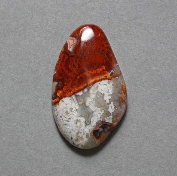 cabochon red CRAZY LACE AGATE 19X32mm freeform designer cab