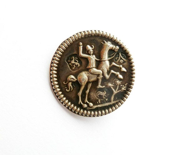 Antique Silver Button British Hallmark Front Stamps Sewing