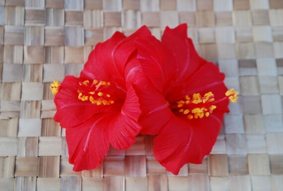 Rockabilly pin up hawaiian hair double hibiscus flower in bright red