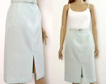 1970s Pencil Skirt Pale Mint Green Straight Skirt / XS to S