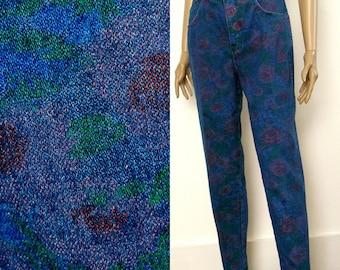 1970s Denim Jeans Vintage Floral Denim High Waist Jeans / Small to Medium