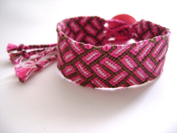 Embroidery Floss Bracelet - Removable - Pink and Brown - Ready to Ship