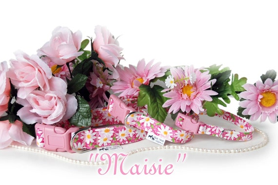 Maisie,,,  Custom Pink Floral Dog Collar by Neck Candy Collars