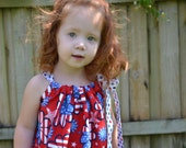4th of July girls dress, Pillowcase Dress - Patriotic Flowers and Polka Dots outfit - Fourth of July Baby Outfit - Patriotic Dress