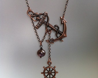 Lost at Sea Necklace by SBC Antique Copper Anchor, Ship Wheel, Vintage Copper FW Pearl, Sideways Anchor, Nautical Necklace, Sailor