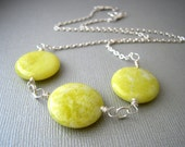Yellow Jade Necklace,  Natural Stone Jewelry, Stone and Silver Necklace