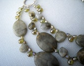 Labradorite Statement Necklace, Green Gemstone Jewelry, Bold Chunky Bib
