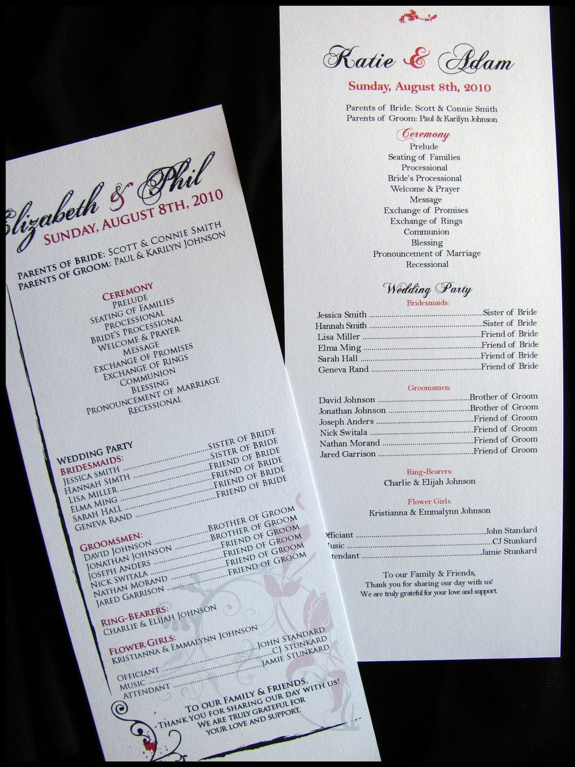 Half Page Wedding Programs Wedding Ceremony By RunkPockDesigns
