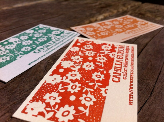 Custom order deposit: Letterpress Business Cards - ABBY