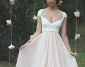 Avalon Peach Chiffon with Crescent Bay Off White Octopus Infinity Convertible Wrap Dress~ Bridesmaids, Wedding, Maternity, etc.