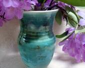 Vase, large aqua vase, stoneware, pottery, wheel thrown