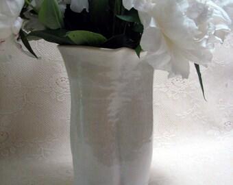 Ready to Ship, Hand made Stoneware vase, White Vase, pottery,ceramic,stoneware,white,crackle,altered by Leslie Freeman