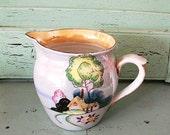 Vintage Pitcher Lusterware Hand Painted Made In Japan Breakfast Milk Orange Juice