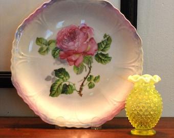 Antique Porcelain Pink Roses Orla Germany Plate