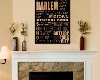 New York Neighborhood Custom Bus Roll Travel Vacation Destination Gift on Wood or Canvas 16x20