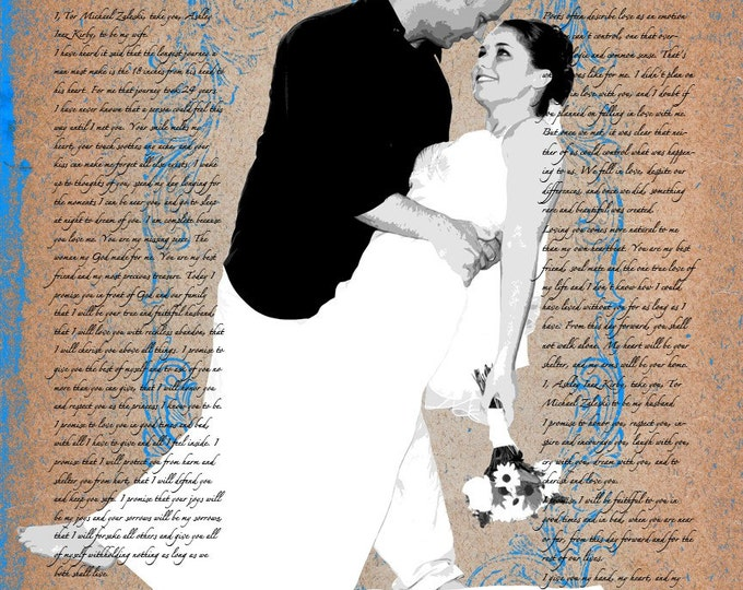 Custom Wedding Vows Photo Gift Canvas 16x20