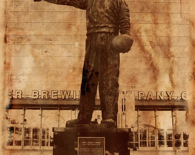 Curly Lambeau Green Bay Packers Lambeau Field Man Cave Decor Gift For Dad Gift For Husband Gift For Him Vintage Art Print on Wood 14x20