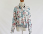 Vintage 80s Blouse -- Blue & Pink Metallic Floral and Polka Dots -- Large