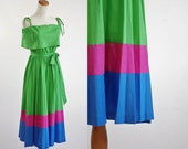 Vintage Pleated Sundress -- 70s Striped Green Ruffle Dress -- Medium Large