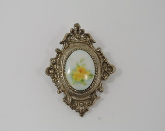 Vintage Brooch or Pendant --  Yellow Rose Ornate Silver Metallic -- Rose Jewelry