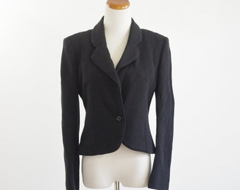 Vintage Oscar De La Renta Jacket, 80s Black Blazer, 1980s Jacket, Designer Vintage, Black Jacket, Cropped Blazer, Bust 38 Medium
